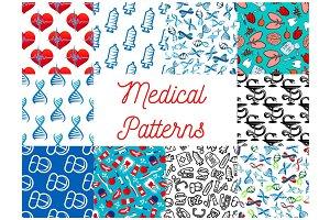 Medical tools, medication items seamless pattern