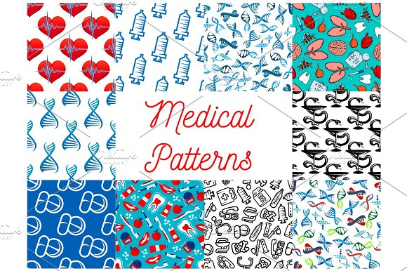 Medical Tools Medication Items Seamless Pattern