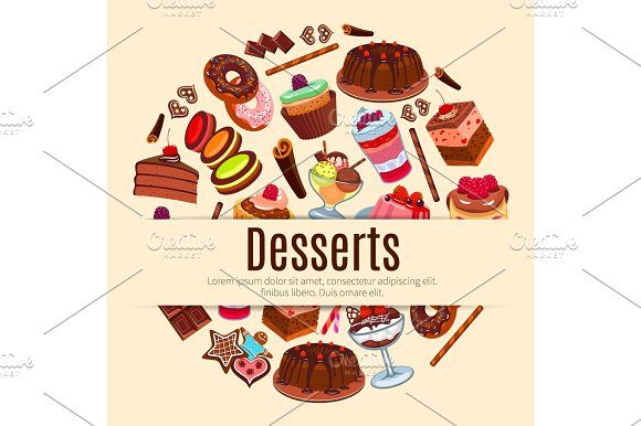 Desserts Vector Poster For Pastry Or Patisserie