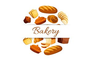 Bakery vector poster with wheat and rye bread