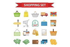 Shopping icon set, flat style.