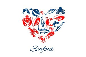 Seafood poster in heart shape vector symbol