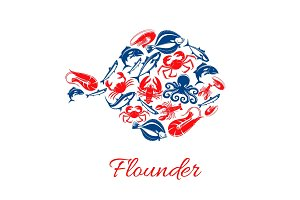 Seafood poster in shape of flounder fish symbol