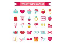Valentines Day icon set, flat style.