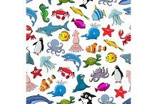 Cartoon pattern of sea fish and ocean animals