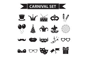 Carnival icon set, black silhouette style. Party, masquerade collection signs, symbols, isolated on white background. Vector illustration clip-art.