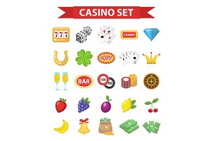 Casino icons, flat style.