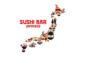 Seafood sushi in shape of vector Japan map
