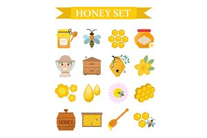 Honey icon set, flat, cartoon style.