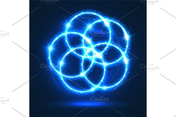 Light Circles Abstract Vector Neon Lights Flashes