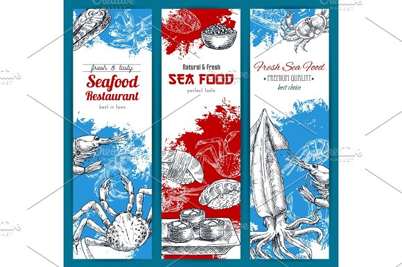 Seafood And Fish Food Sketch Banners Set