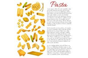 Pasta, macaroni, spaghetti sorts vector poster