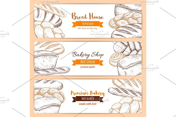 Bakery And Bread House Sketch Banners Set