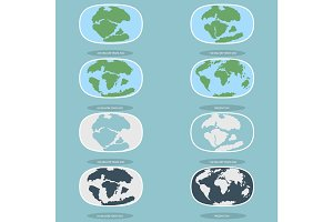 Tectonic Plates on the planet Earth. modern continents and   infographics Set of icons  Flat style
