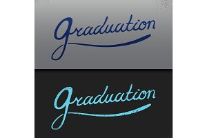 Graduation Vector template  Party, Congrats, Celebrate, High School.College   Set.Celebration of finishing . Minimal flat  illustration.