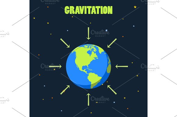 Gravitation On Planet Earth Concept Illustration With And Arrows That Shows How Force Of Gravity Acts Realistic Vector