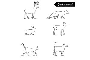 One line animals set, logos vector stock illustration with deer, fox rabbit and other