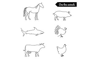 One line animals set, logos vector stock illustration with horse, pig, turkey, cow, chicken, shark,and other