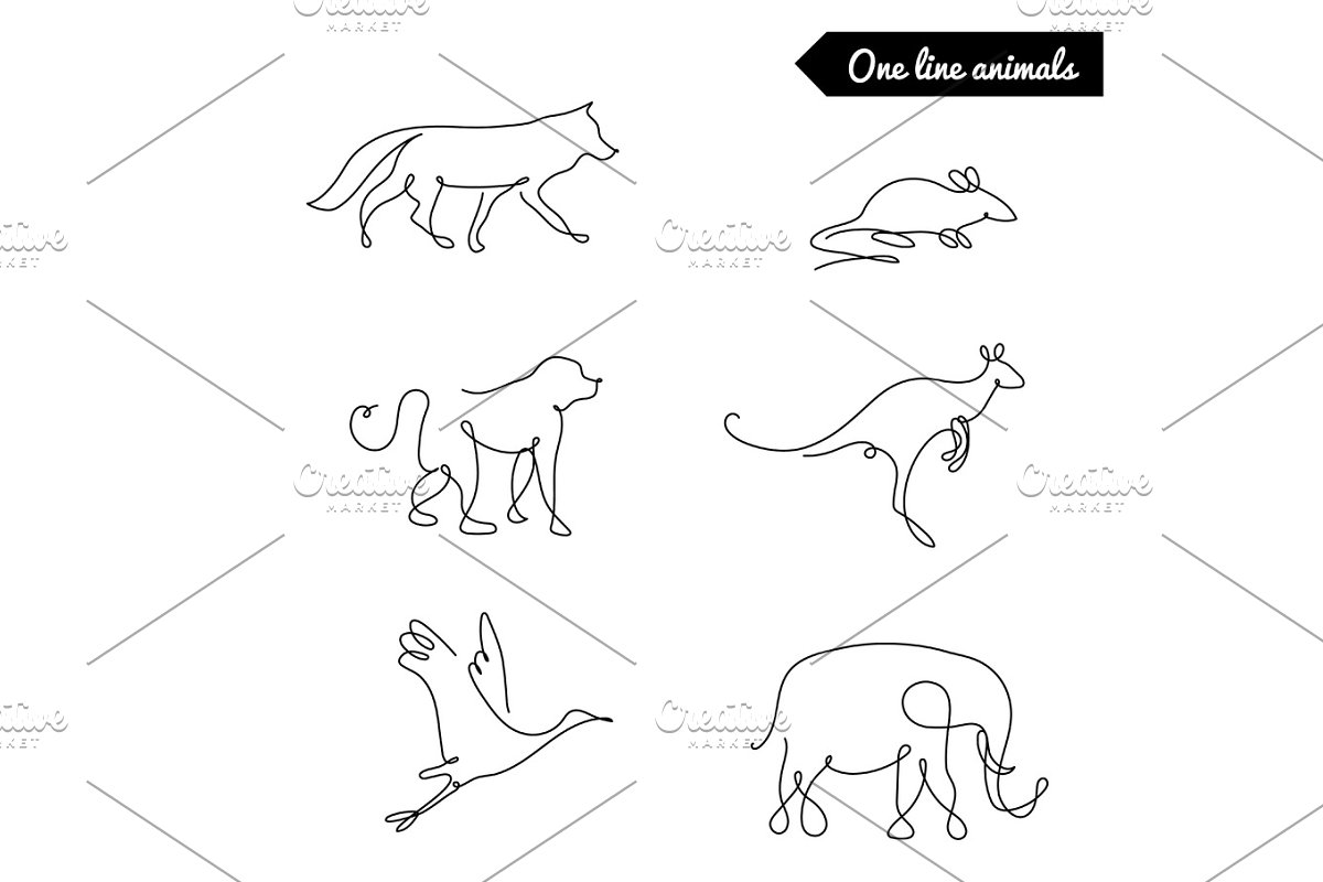 One line animals set logos vect