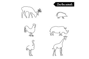 One line animals set, logos vector stock illustration with deer, giraffe, ostrich, and other