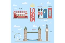 London travel info graphic Vector illustration of the  and symbols, briges, big-ben, telephone boxes, bus, queen guards, eye