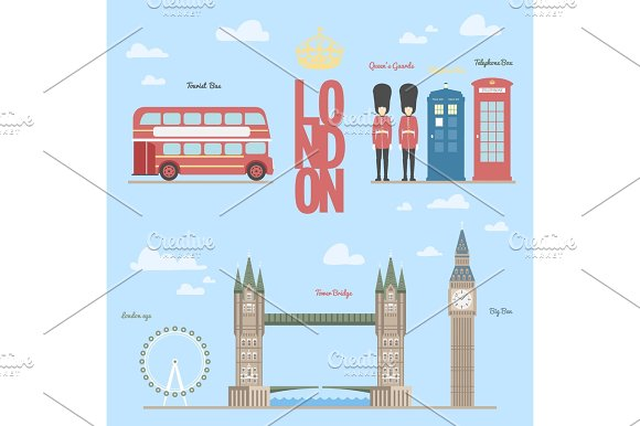 London Travel Info Graphic Vector Illustration Of The And Symbols Briges Big-ben Telephone Boxes Bus Queen Guards Eye