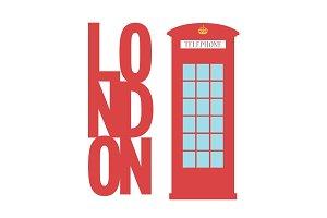 United Kingdom Telephone Box London public call vector  word concept