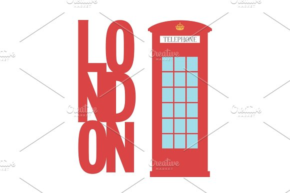 United Kingdom Telephone Box London Public Call Vector Word Concept