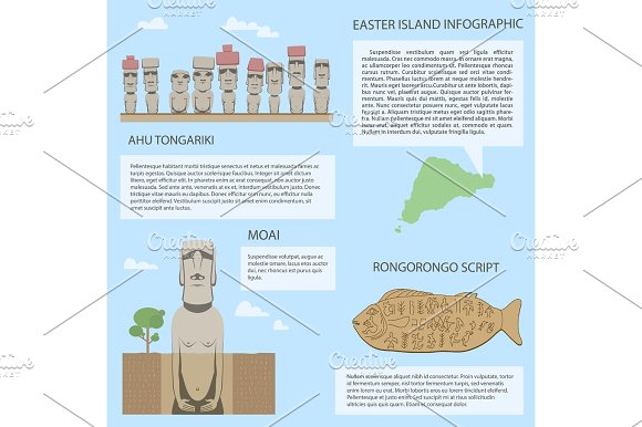 Easter Island Infographic Moai On Different Versions Of Statues Rongorongo Scripts Wooden Table Include Real Old Symbols Travel