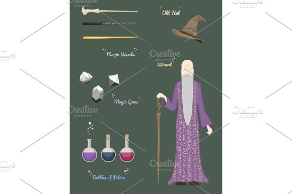 Magic Wizard With Stones And Things Magical Crystal Ball Wands Hatvector Illustration