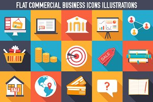 set Flat commercial business icons