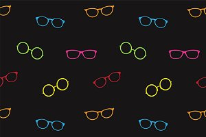 Glasses vector art. Seamless pattern