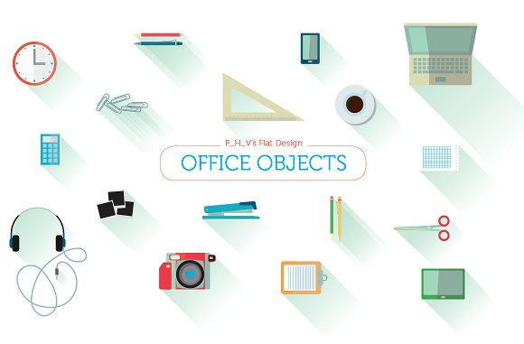 Office Objects Flat Design By P H V