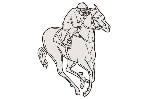 Jockey Riding Thoroughbred Horse