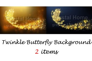 Twinkle butterfly background set