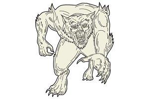 Werewolf Monster Running Mono Line