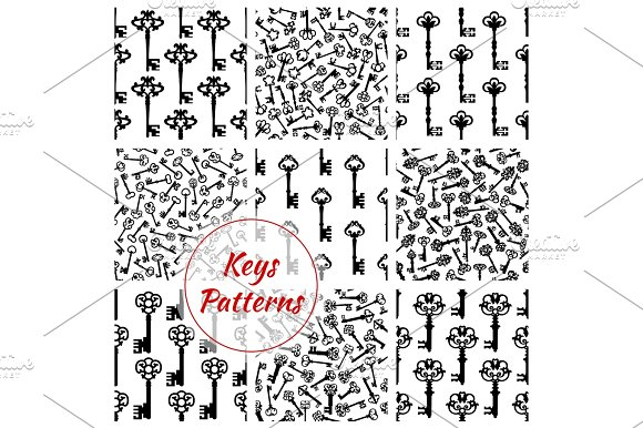 Keys Seamless Vector Patterns Set