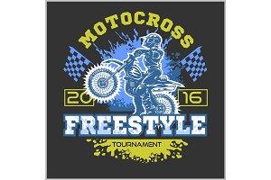 Extreme motocross. Emblem, t-shirt design.