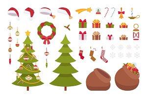 Set of Christmas items