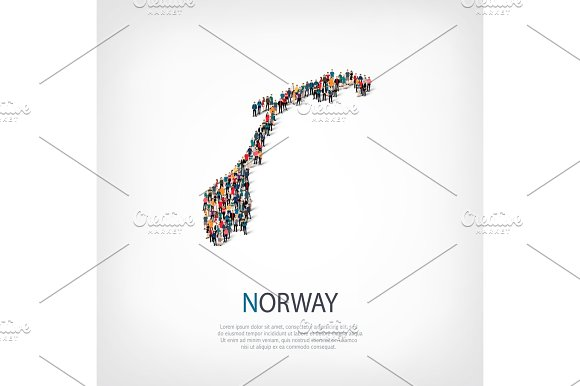 People Map Country Norway Vector