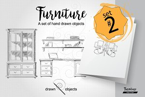 Furniture Hand drawn Vector set#2