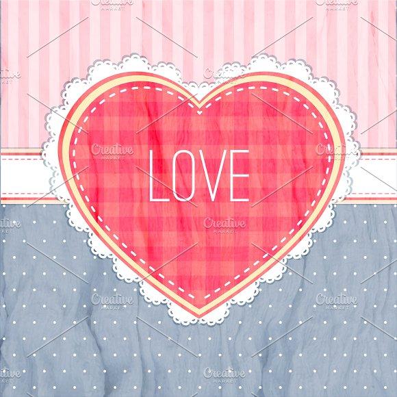 Happy Valentines Day Card Red Heart On Dark Blue Background