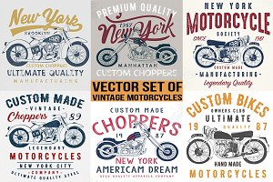vintage motorcycle illustrations