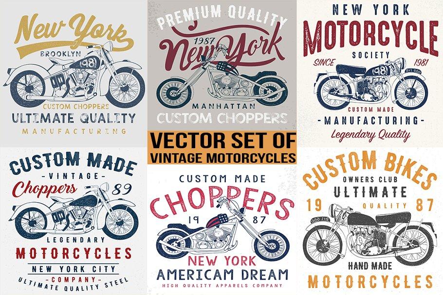 566453414b6f vintage motorcycle illustrations ~ Illustrations ~ Creative Market