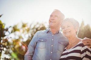Front view of happy senior couple
