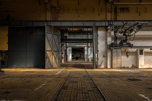 Industrial Interior with Large Door