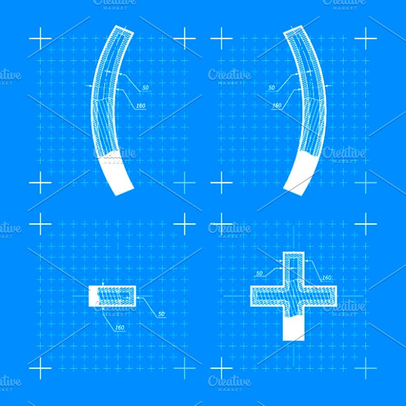 Construction sketches of letters symbol fonts creative market malvernweather Choice Image