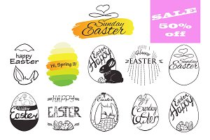 Happy Easter labels and badges