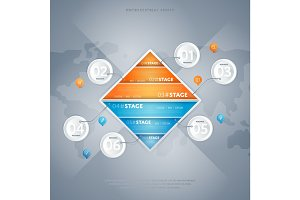 Business infographics concept with six stage