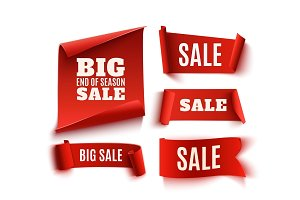 Set of five red, realistic, sale paper banners.